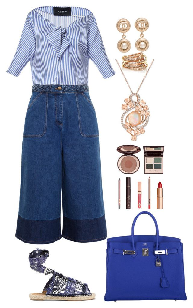 """""""OUT OF THE BLUE"""" by shinnanda on Polyvore featuring Paper London, Chloé, SPINELLI KILCOLLIN, Chanel, LE VIAN, Hermès, Valentino, Charlotte Tilbury and stripedshirt"""
