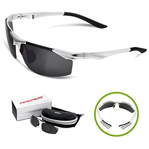 66fcb36d33f PAERDE Mens Polarized Sports Sunglasses for Baseball Running Cycling  Fishing Golf Unbreakable Frame Metal Frame AlMg Glasses SilverBlack none     Want ...