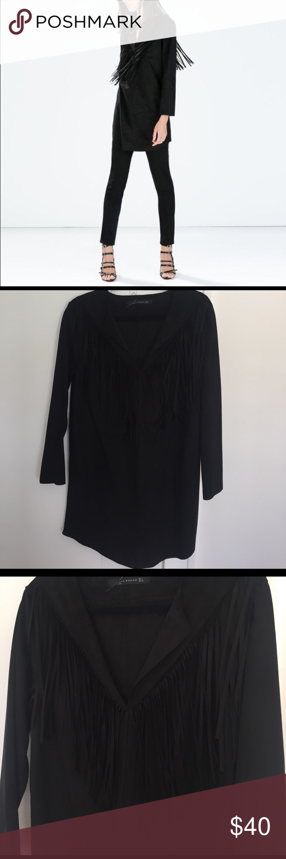 Black suede fringe dress/long shirt New with tags - 100% polyester Zara Dresses Mini