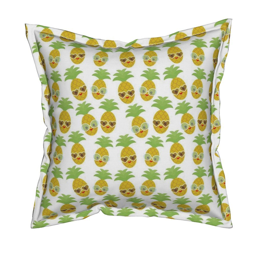 Serama Throw Pillow featuring kawaii pineapple, face and smile winking eyes with…