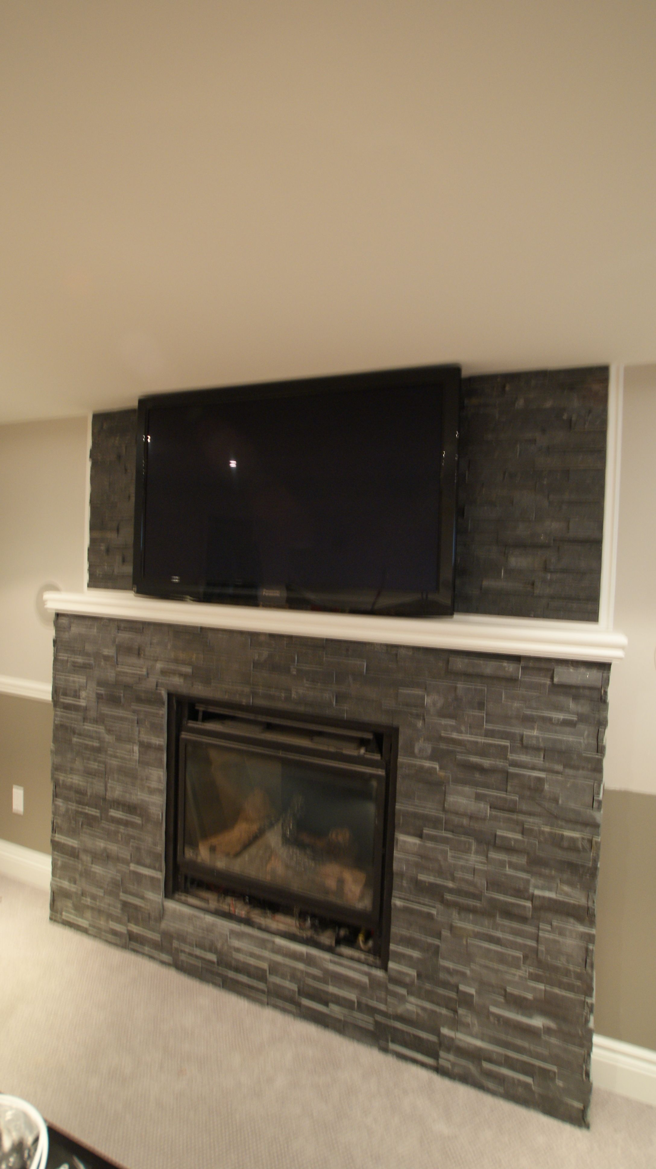 Natural Stone Fireplace Natural Stone Fireplace Tv Mounted Over Fireplace Grey Gas