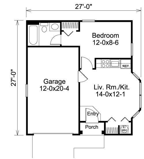 Garage with apartment floor plans 19 one car garage for Single car garage size
