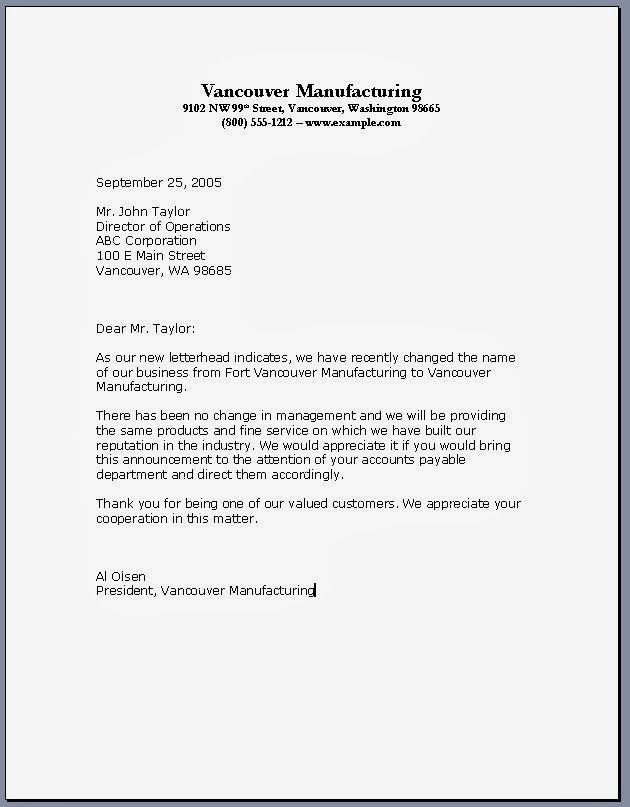 Printable Sample Business Letter Template Form | Legal Forms ...