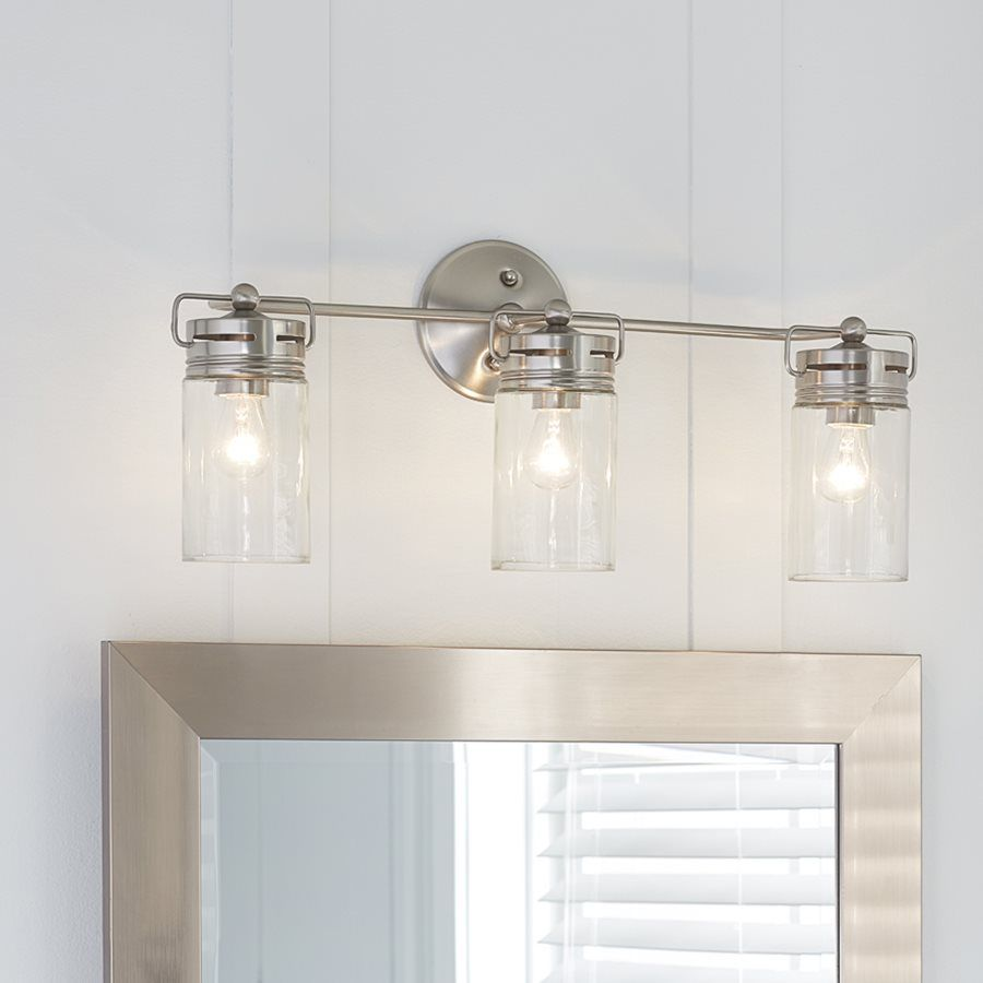 Bathroom Vanity Lights Facing Up Or Down : allen + roth 3-Light Vallymede Brushed Nickel Bathroom Vanity Light Includes eclectic jar style ...