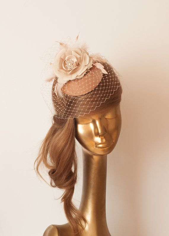 Bridal Camel Bronze FASCINATOR with BIRDCAGE by ancoraboutique ... 6a6797f396f