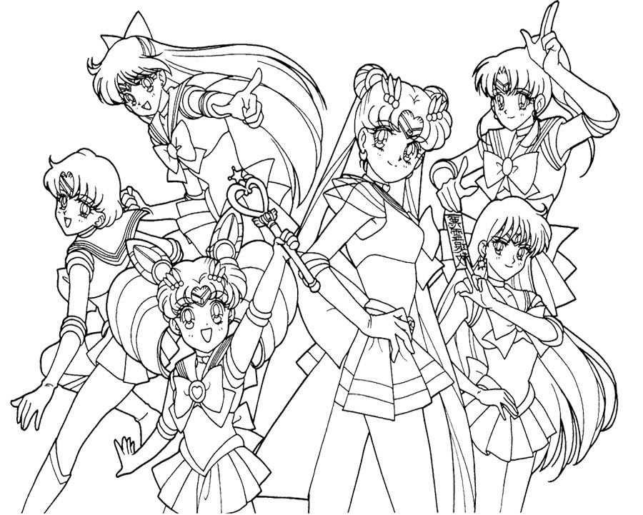 Sailor moon coloring pages sailor moon and her friend for Coloring pages sailor moon