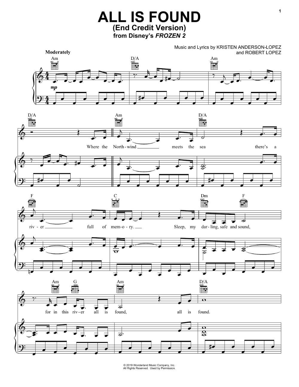 Kacey Musgraves All Is Found From Disney S Frozen 2 End Credit Version Sheet Music Notes Chords Disney Sheet Music Ukulele Chords Songs Piano Songs Sheet Music