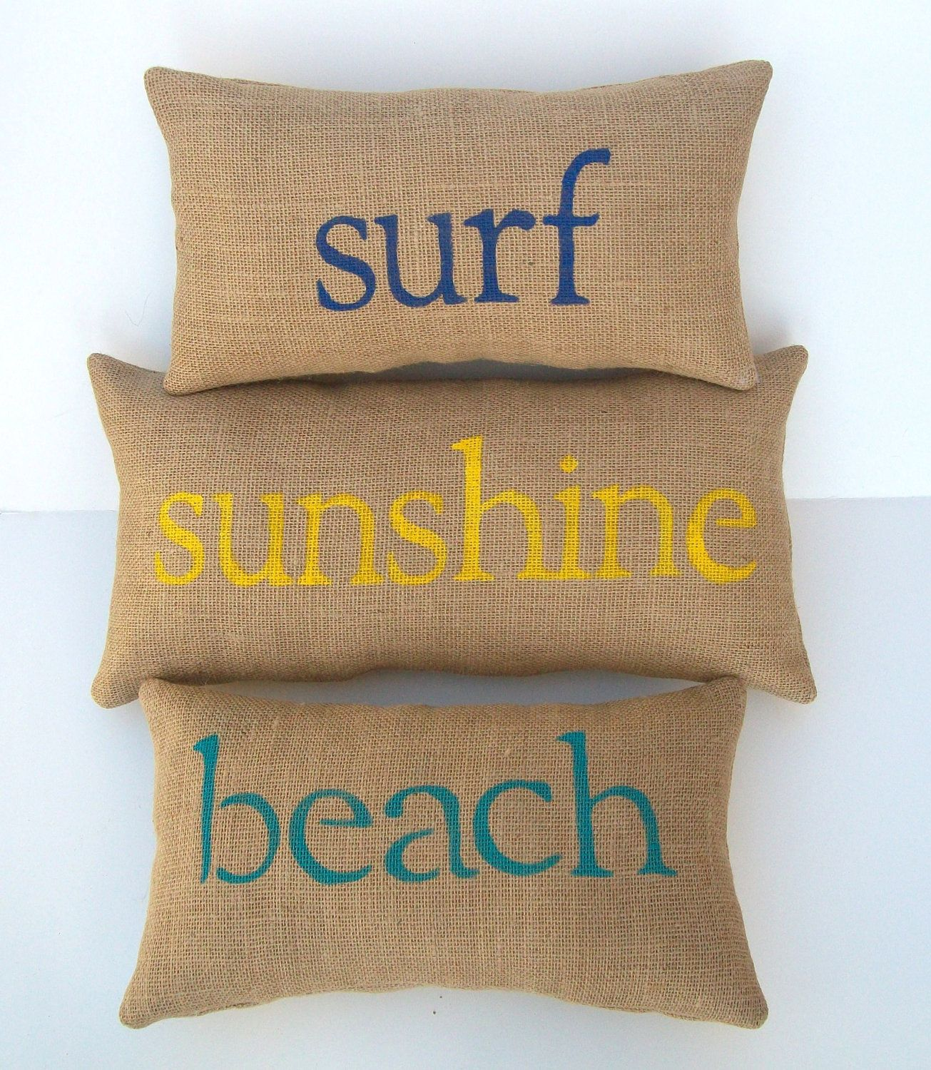 Items similar to Burlap pillows, beach, surf, sunshine, decorative pillows, set of 3 by whimsysweetwhimsy on Etsy