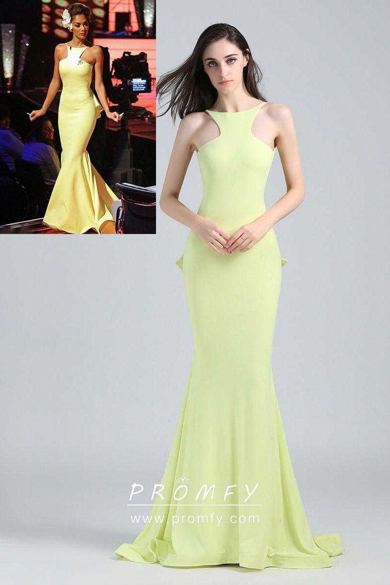 5cbfe0b326 Strapless V-cut Cascade Ruffled Trumpet Rocsi Diaz Emmys Blue Satin Prom  Dress