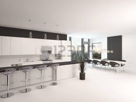Ouverte, cuisine, intérieur noir et blanc moderne avec un comptoir