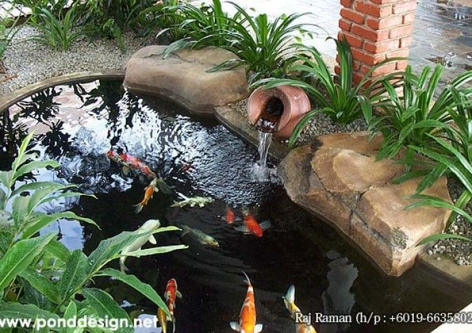 Pond fountain with proper bio filter the koi ponds will for Garden pond design malaysia
