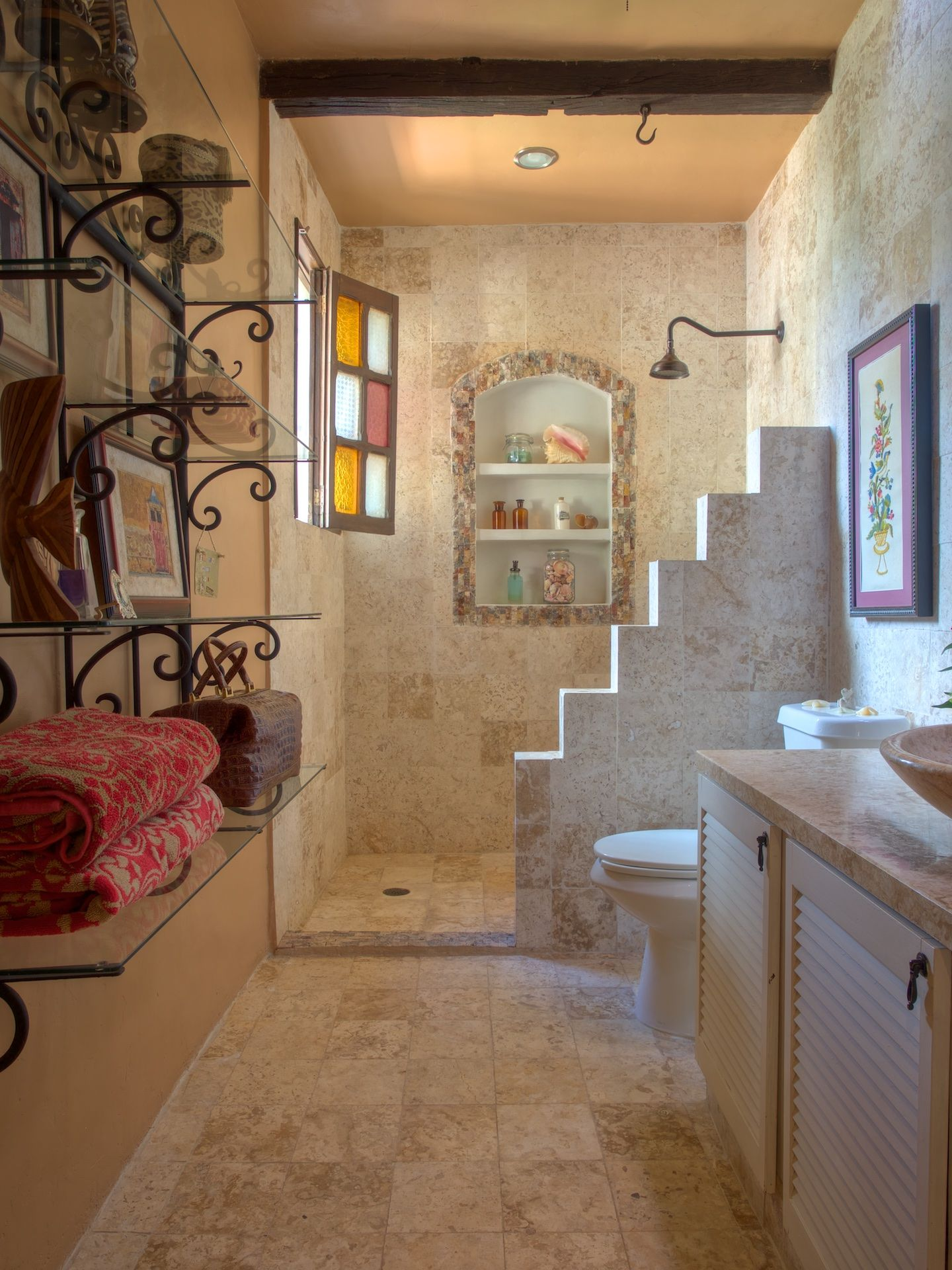 Hacienda Style Living In The City 2016 Home Tour Participant Partially Furnished With High End Spanish Style Bathrooms Spanish Style Homes Bathroom Interior