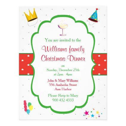 Christmas Dinner Invitation Flyer - party gifts gift ideas diy ...