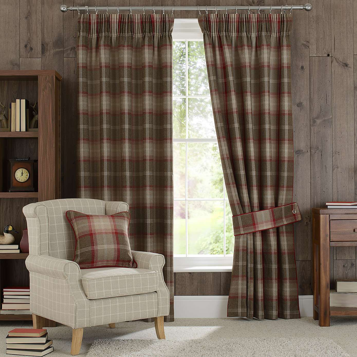 Highland Check Red Pencil Pleat Lined Curtains - Dunelm