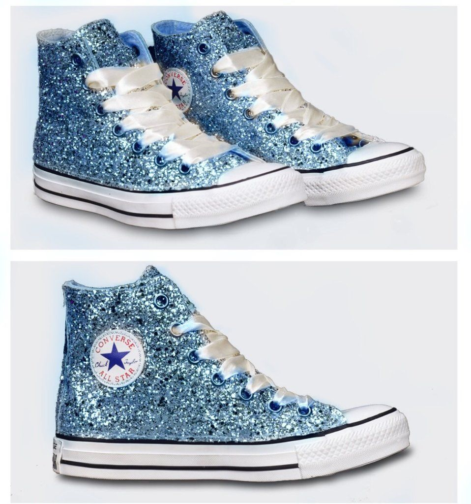 3fdeee3a5874fe Womens Sparkly Glitter Converse All Stars Baby Blue High Top Cinderella  wedding bride shoes
