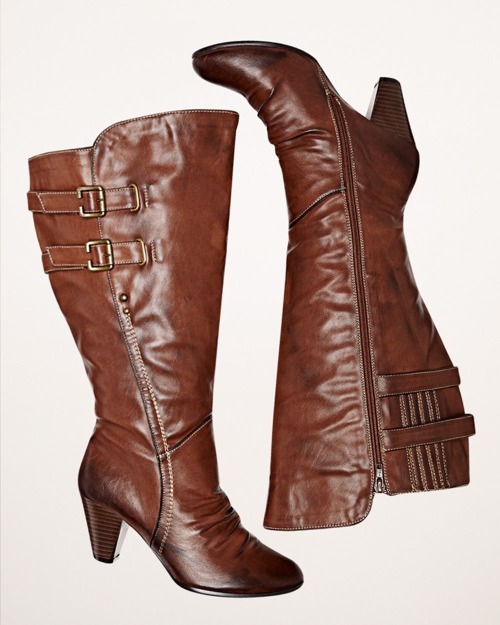 Tall side buckle boots