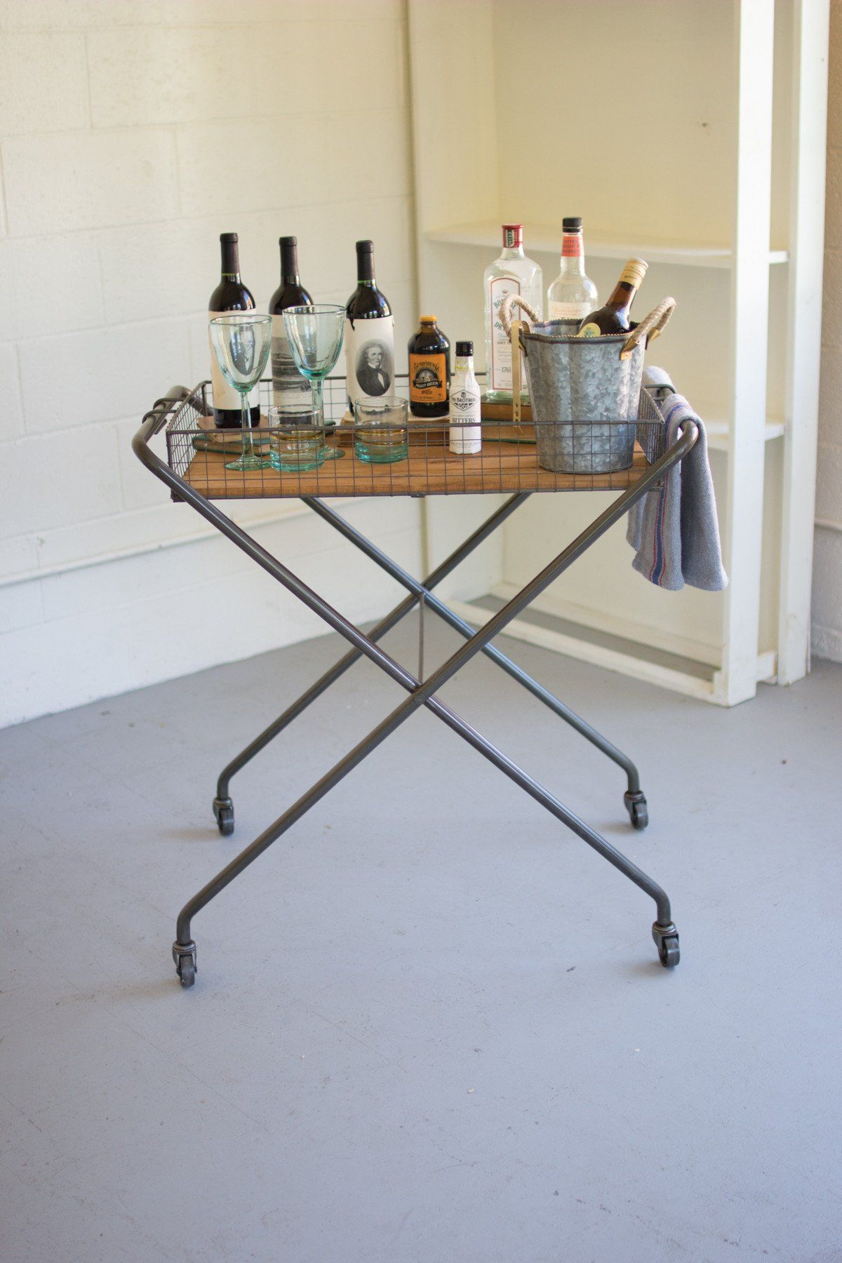 Industrial Modern Folding Serving Tray Cart With Wheels | Wood tray ...