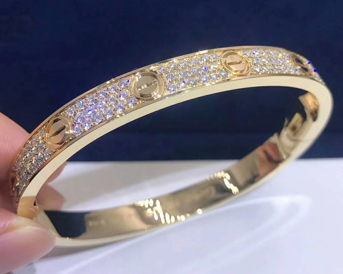 0df4cc80e93 18K Yellow Gold Cartier Love Bracelet 204 Diamond-Paved