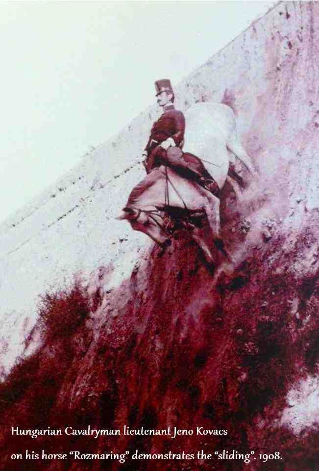 "Hungarian Cavalryman lieutenant Jenő Kovács on his horse ""Rozmaring"" demonstrates the ""sliding"", 1908."