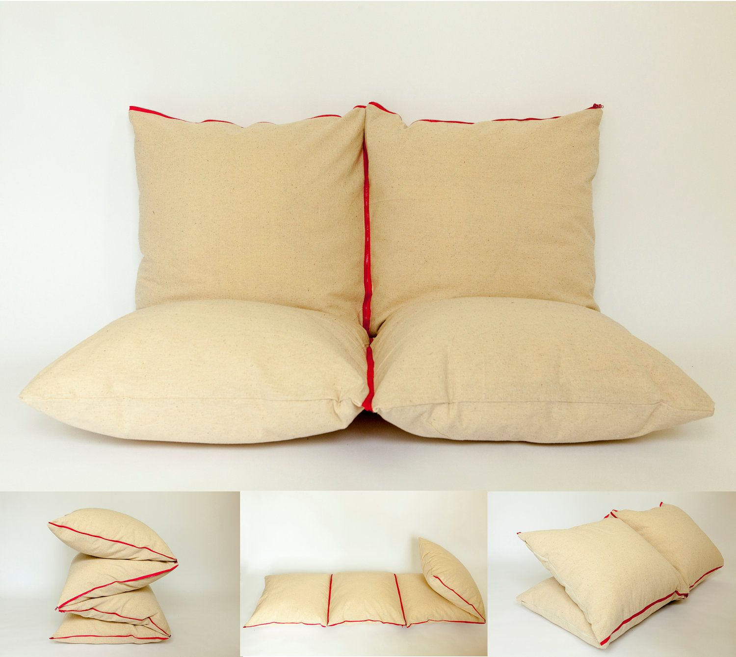 #ZIPILLOW natural cotton & pink - couch, extra bed, pouf, bench.