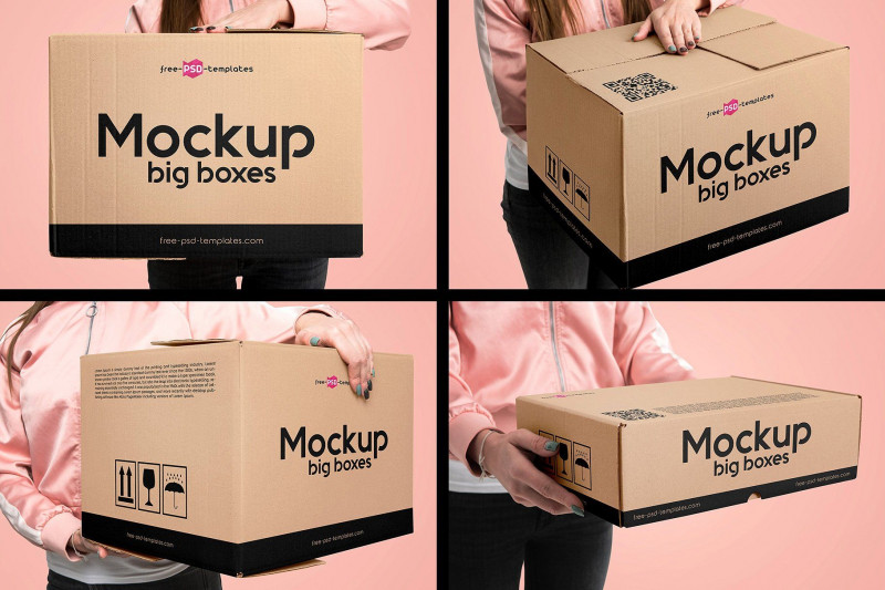 Download Moving Box Label Template New 15 Big Boxes Mockup Set ...
