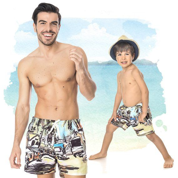 17b52565dc Daddy And Son, Matching Dad And Me Outfit, Printed Shorts, Palm Clothing, Mens  Swimsuit, Father And Son Trunks, Boys Printed Shorts