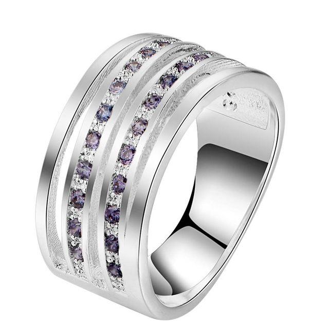 Инкрустация фиолетовый циркон серебряные позолоченные Кольца Мода Ювелирные Кольца Женщины и Мужчины,/OEHDUAVI HJWLTFMR