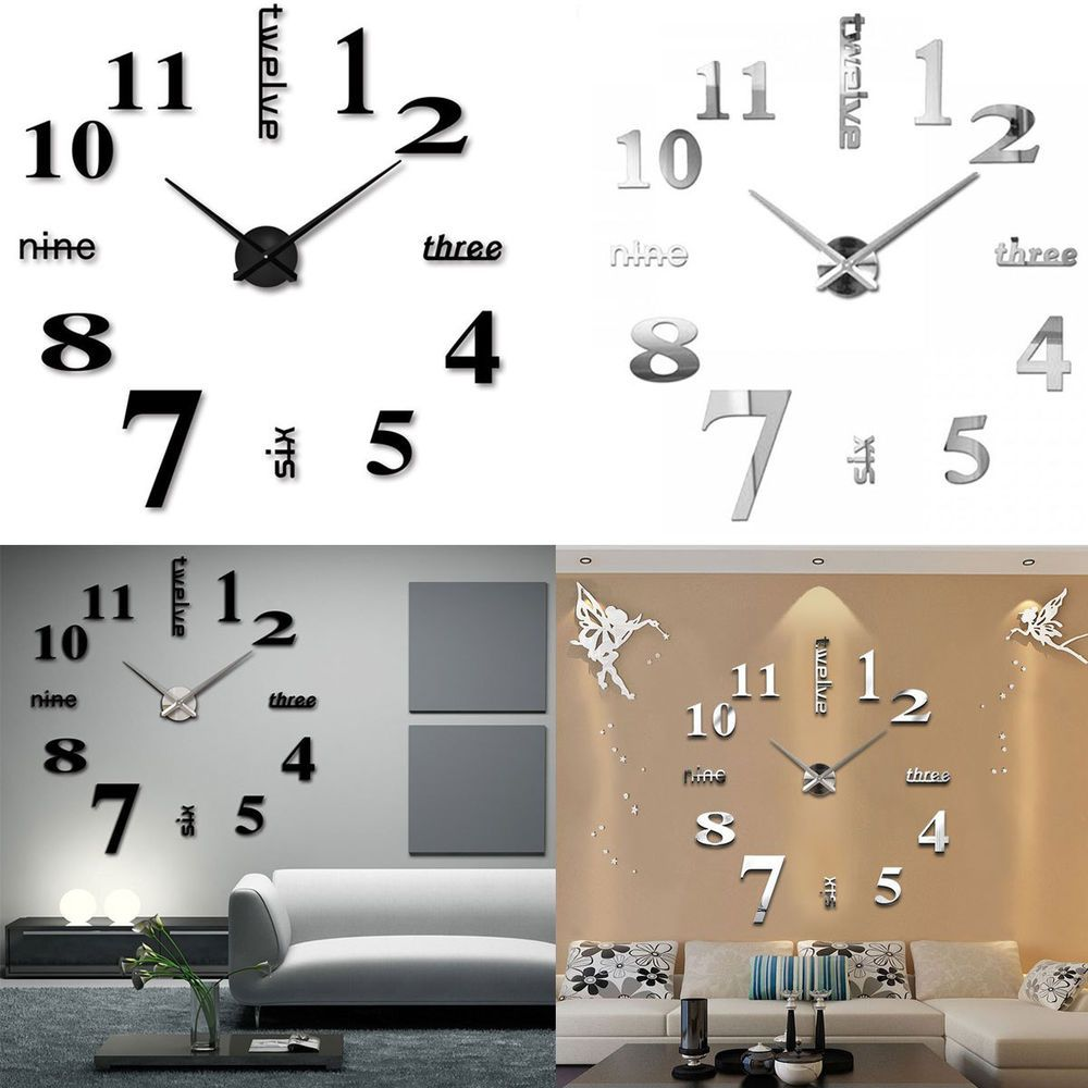 Modern DIY Large Wall Clock 3D Mirror Surface Sticker Home Office Hotel  Decor