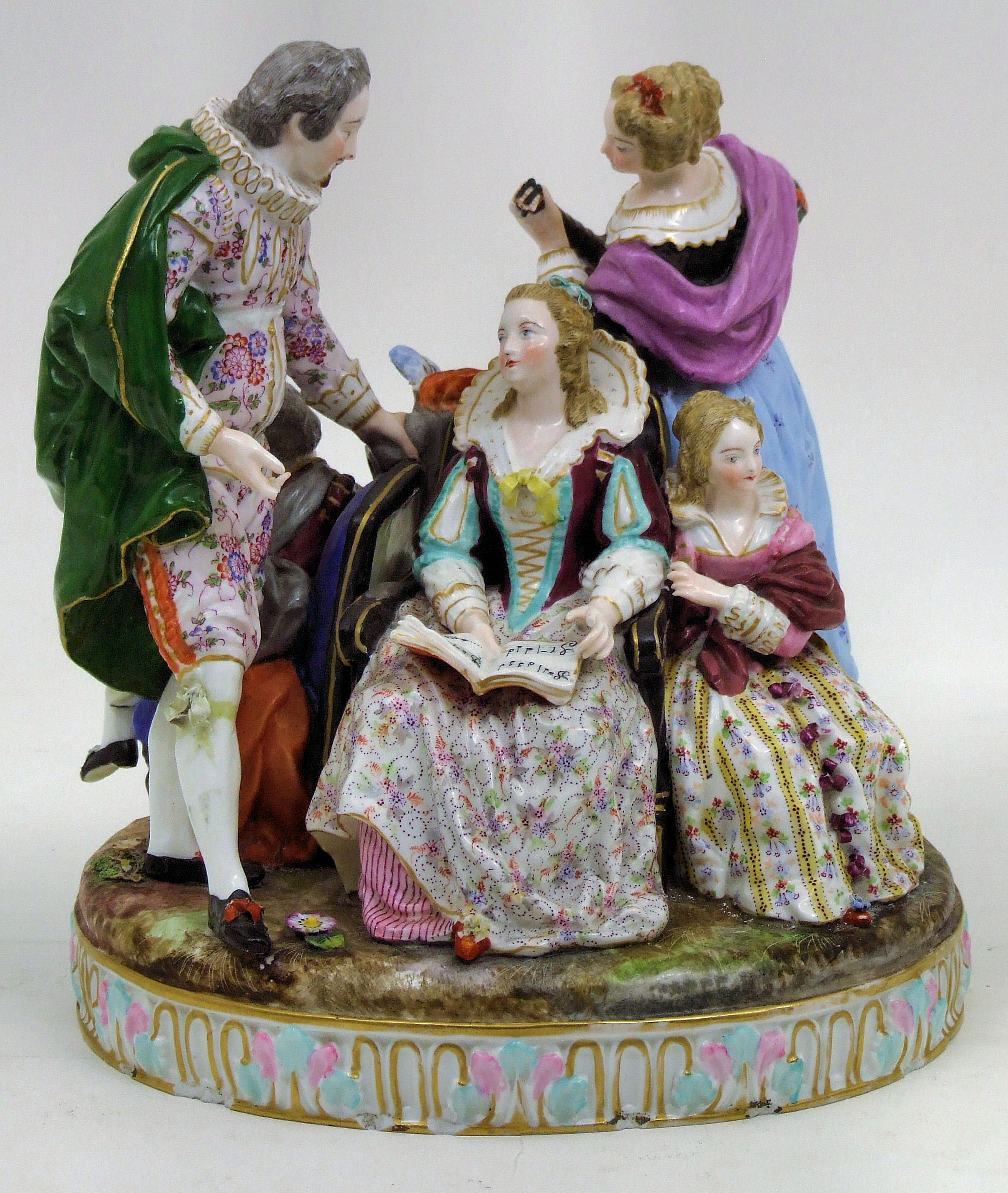 Sitzendorf Porcelain Group ' Musical Family'. 10 5