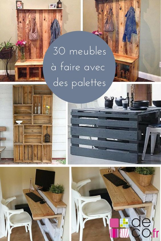 30 meubles faire avec des palettes diy tendances pinterest palette meubles et palette diy. Black Bedroom Furniture Sets. Home Design Ideas
