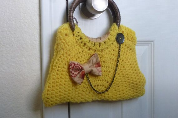 Small Crochet Yellow Hand Bag by AngieMade on Etsy, $35.00