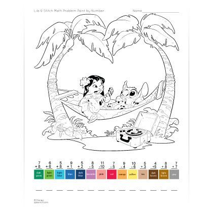Lilo & Stitch Math Problem Paint by Number Worksheet