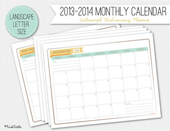 Printable 2013-2014 Monthly Calendar (Coloured Stationery Theme)