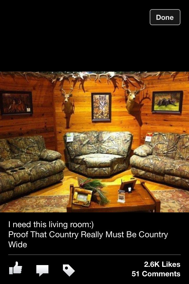 Country | Camo living rooms, Country man cave, Camo furniture
