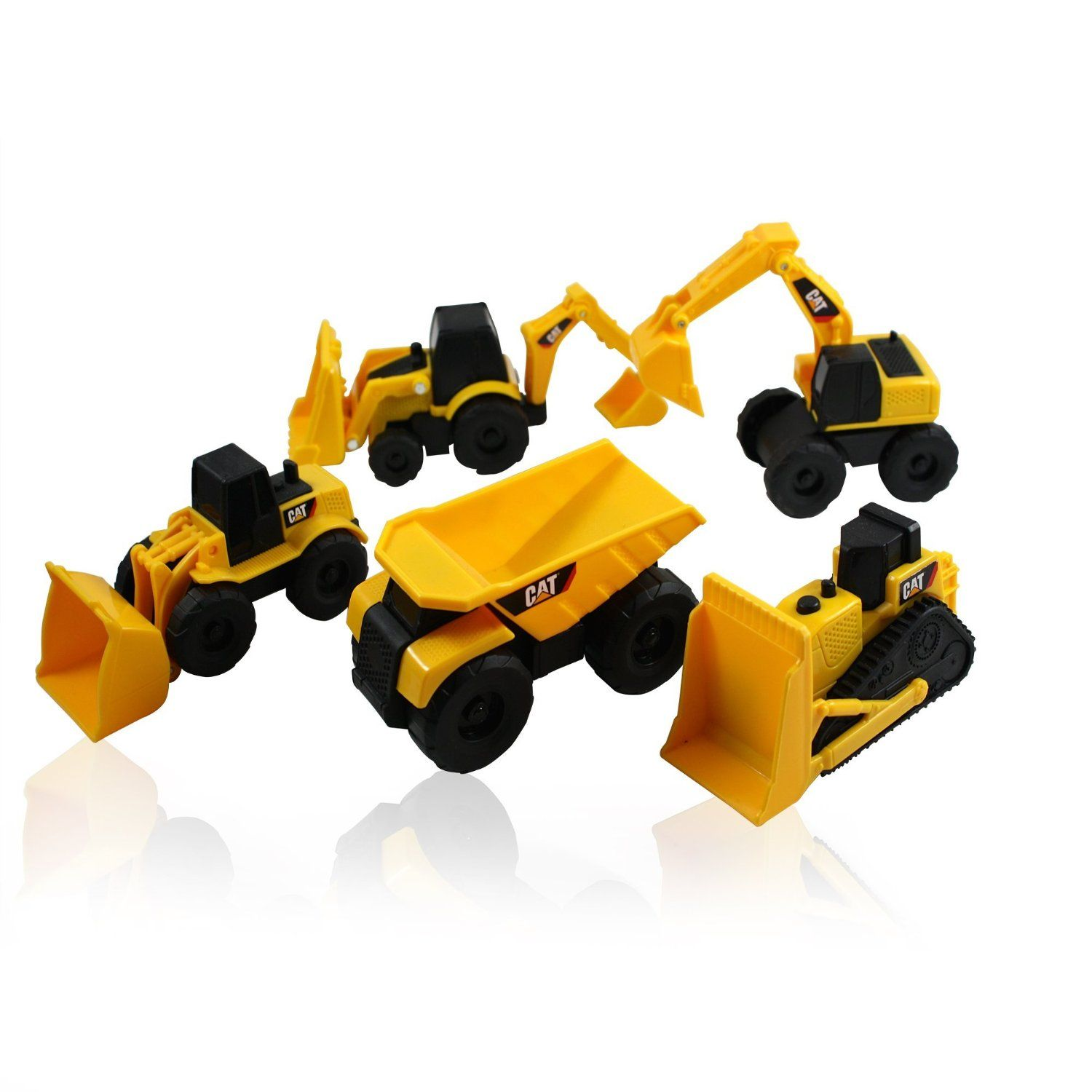 Amazon.com: CAT Mini Machine Caterpillar Construction Truck Toy Cars Set of 5, Dump Truck, Bulldozer, Wheel Loader, Excavator and Backhoe Free-Wheeling Vehicles w/Moving Parts -Great Cake Toppers: Toys & Games