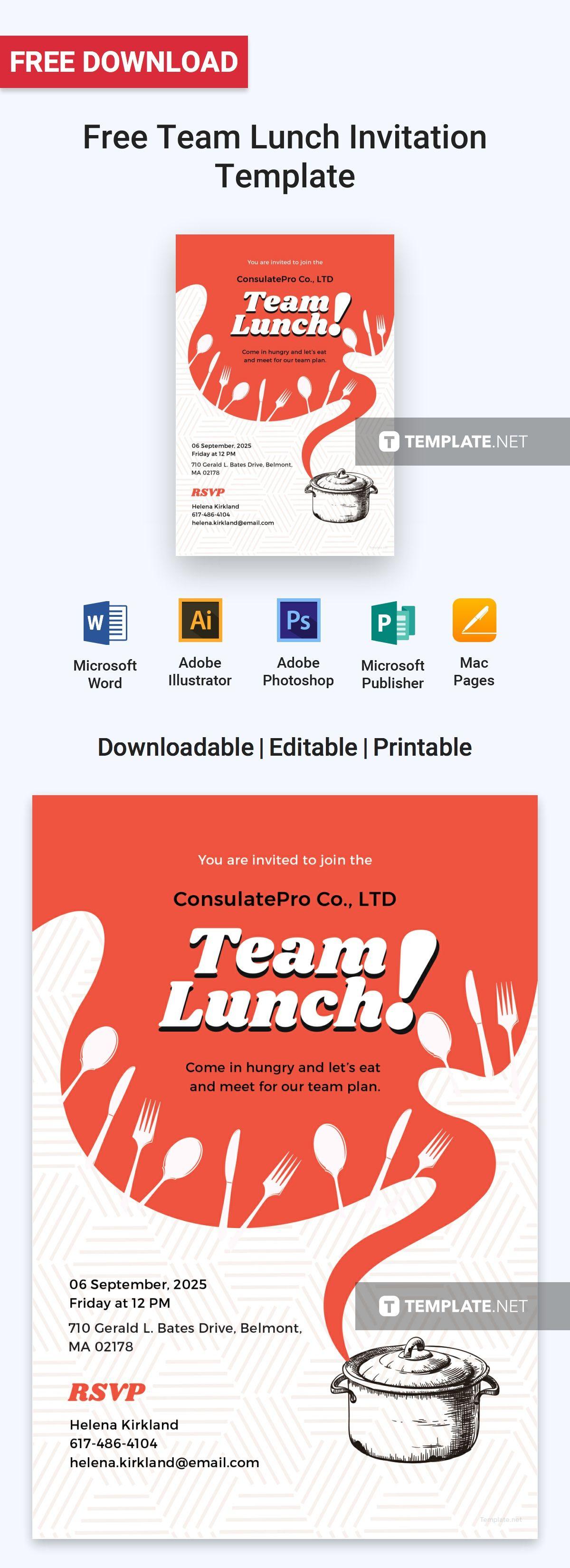 free team lunch invitation invitation templates designs 2019
