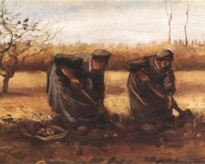 Two peasant women digging potatoes - Vincent van Gogh