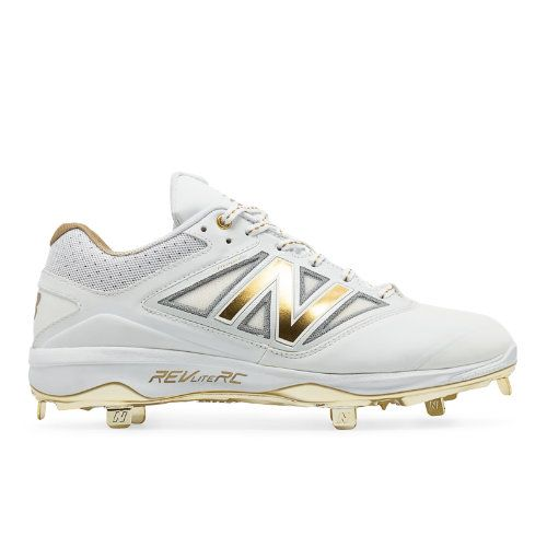 Low-Cut Bold and Gold Hero 4040v3 Metal Cleat Men's Low-Cut Cleats Shoes - White/Gold (L4040WG3)