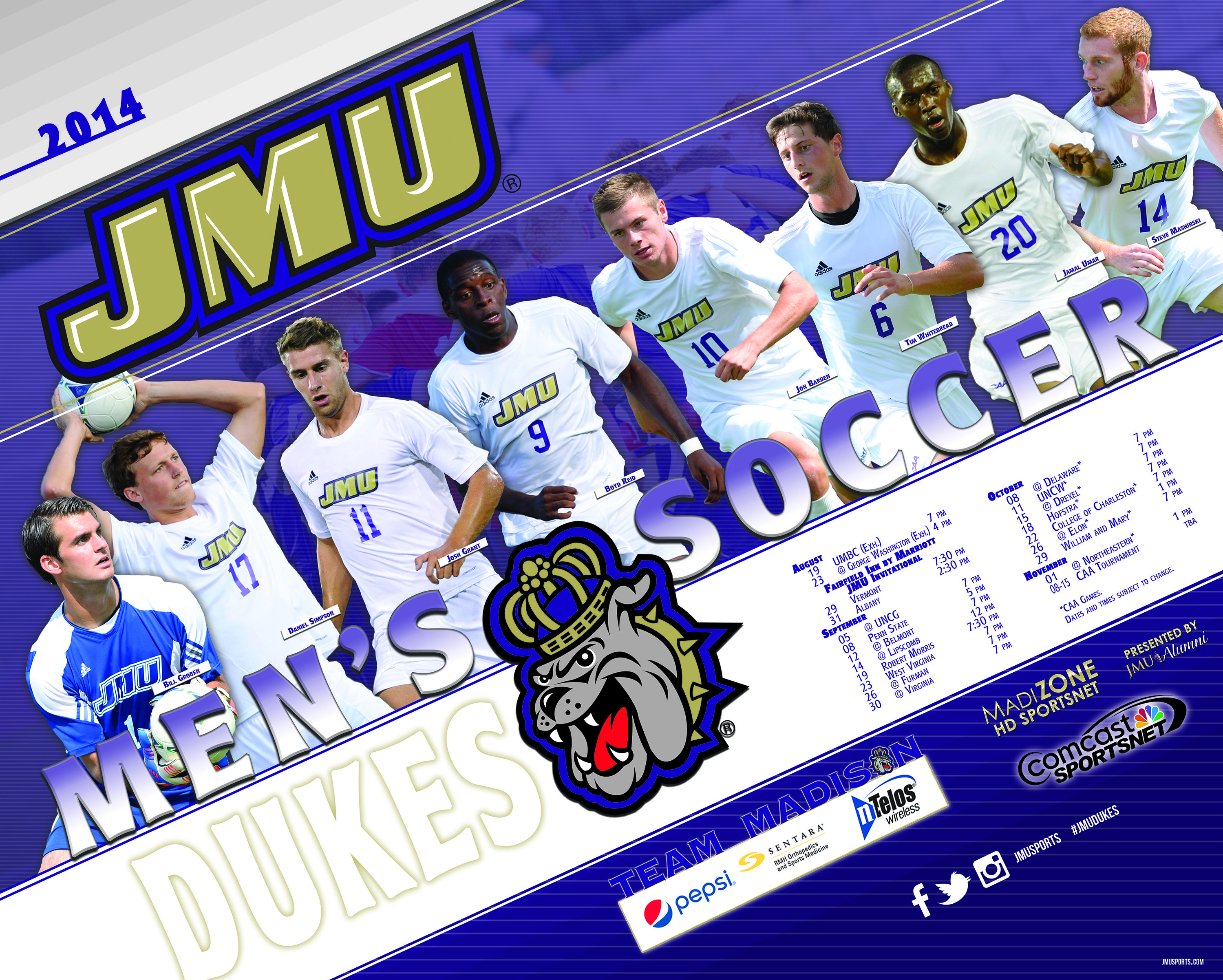 The 2014 JMU men's soccer schedule poster! Click to