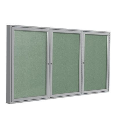 Ghent 3 Door Outdoor Enclosed Bulletin Board Surface Color: Mint, Size: 4' H x 8' W, Frame Finish: Satin