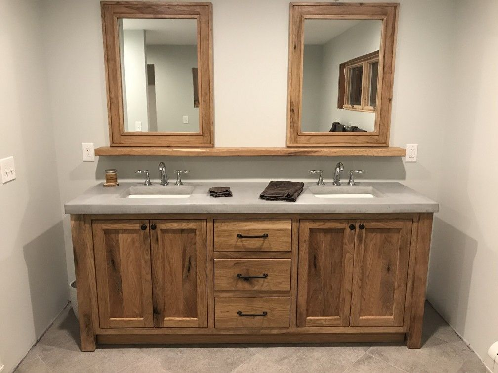 White Walnut Vanity With Concrete Top Floating Shelf And Matching Mirrors All Handcrafted By Northeast Furniture Studio Vanity Floating Shelves Shelves