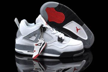 894bd8d7121e Female Jordan 4 Shoes with White Black and Grey Cement Varsity Red. Retro  JordansNike ...