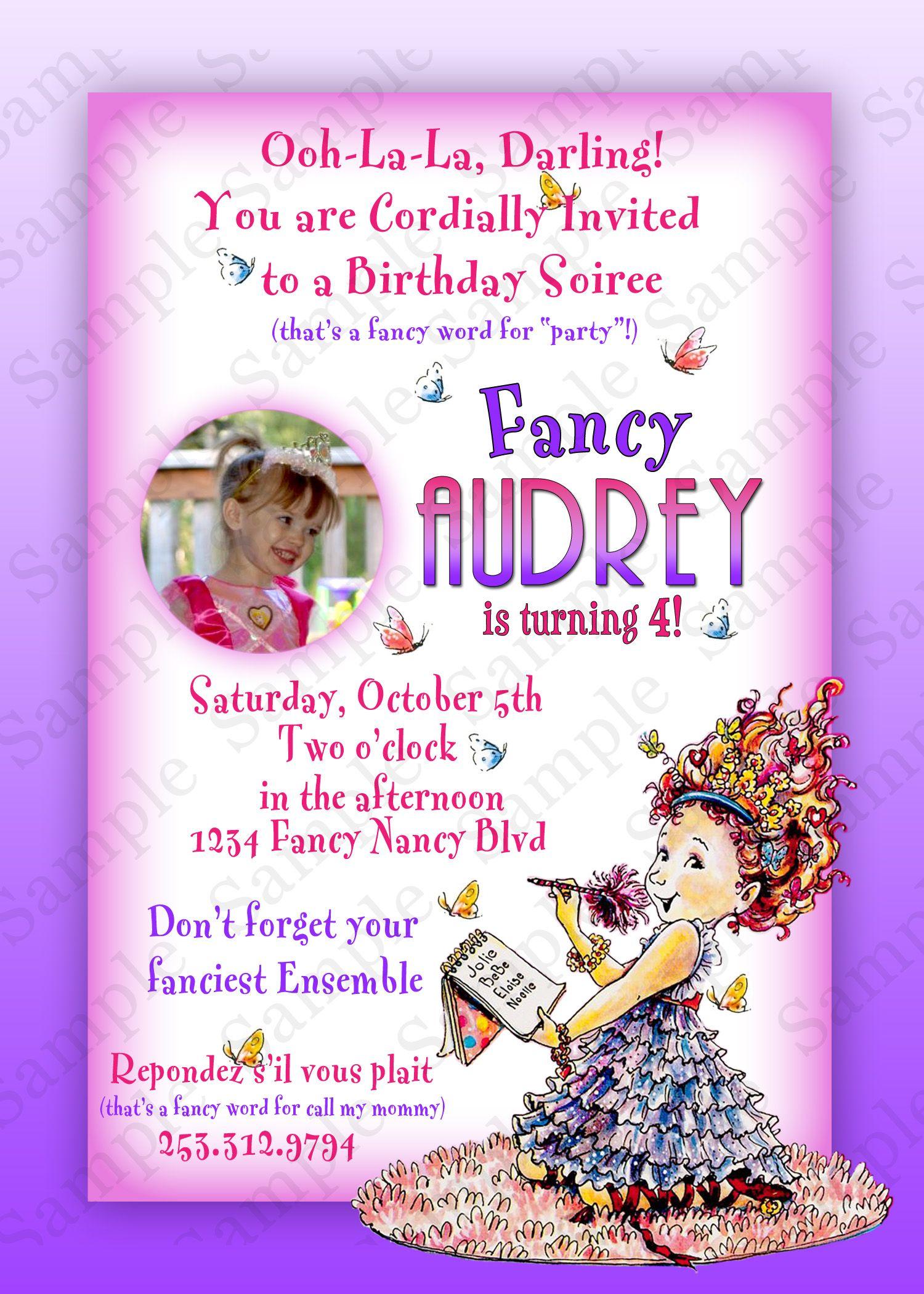 Fancy Nancy Birthday Invitation birthday party ideas