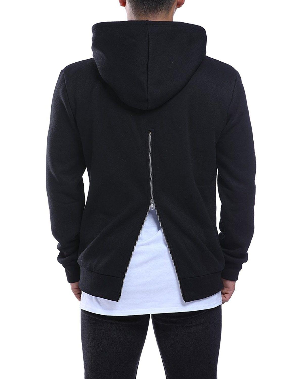 Men/'s Front Pocket Zipper Jacket Hooded Sweatshirt Slim Fit Casual Hoodies Coat