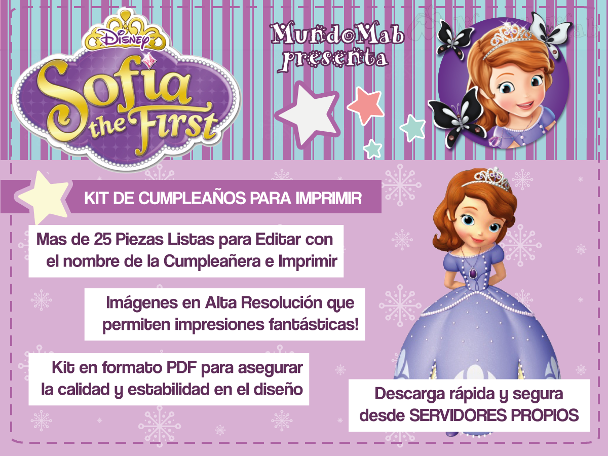 Mini Kit Imprimible Princesa Sofia Gratis Para Descargar