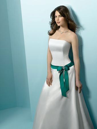 Wedding Dresses with Green Bows