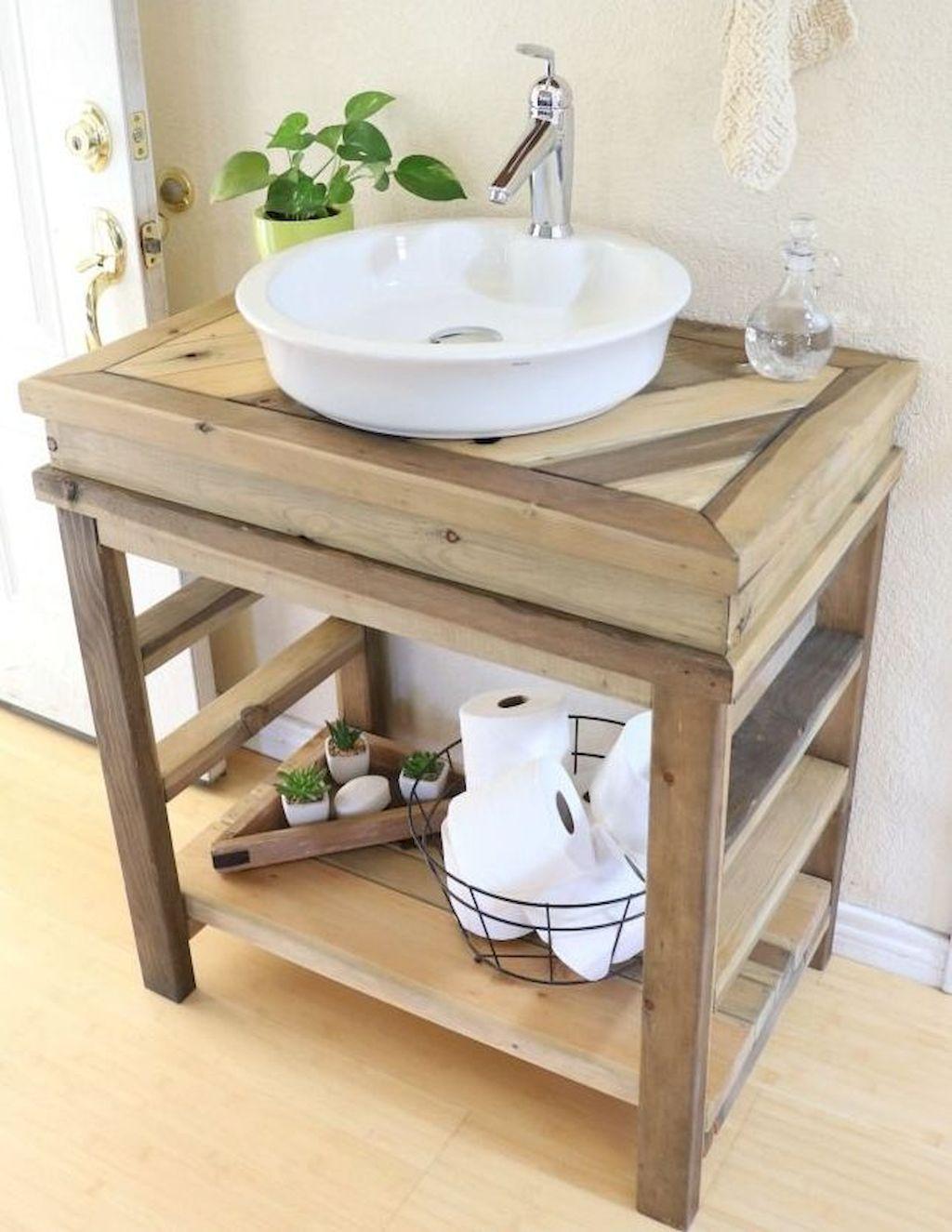 90 Amazing Farmhouse Bathroom Vanity Decor Ideas Wood Bathroom Vanity Small Bathroom Vanities Bathroom Vanity Remodel [ 1325 x 1024 Pixel ]