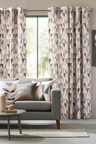 Curtains In Gray Living Room Quantum Tan Sectional Geo Prints For The Home Are As Pink And Grey Sweet
