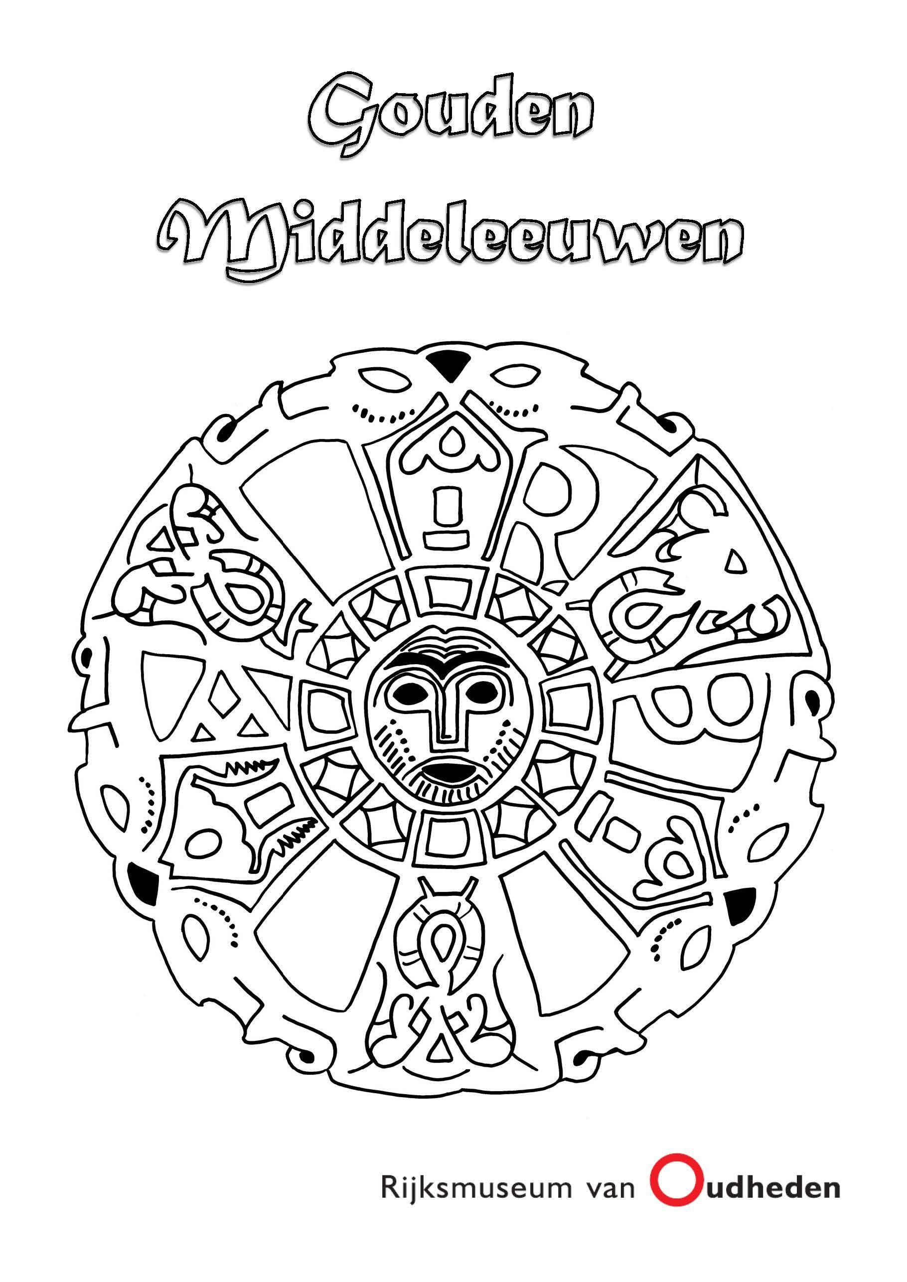 Kleurplaat Van Een Middeleeuwse Medaillon Van Goud Klik