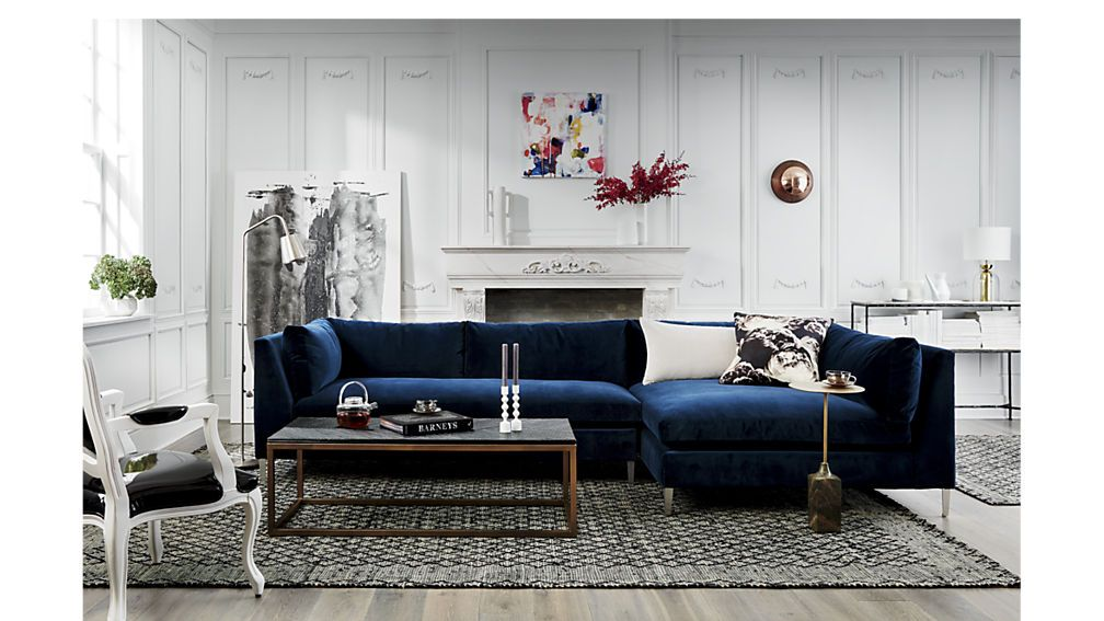 Decker 2-Piece Navy Blue Velvet Sectional Sofa + Reviews | CB2 #modernvictoriandecor